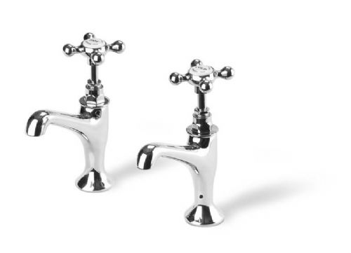 "Barber Wilson 106 1/2"" pillar sink tap, with raised nozzle (pair)"